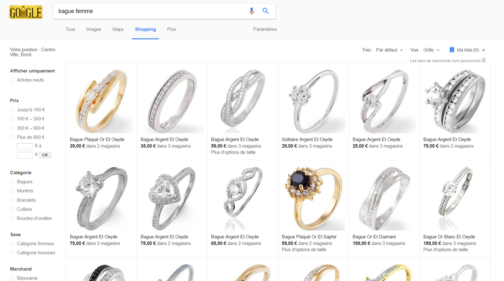 Page Google Shopping