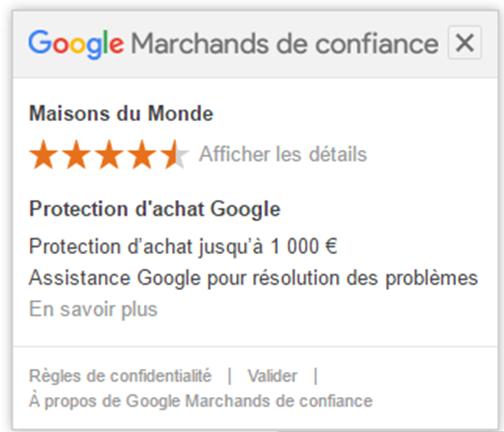 Badge Google Marchand de confiance pour sa boutique en ligne avec une protection d'achat jusqu'à 1000 €