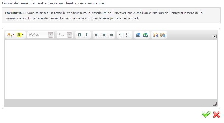 Chaque caissier peut ajouter un texte qui sera ajouté automatiquement sur les e-mails contenant les factures des clients passés à sa caisse.