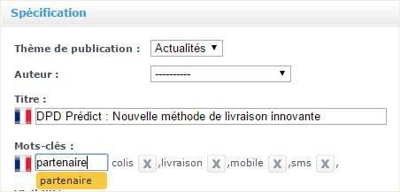 Fonctionnalite mots cles ou tags dans Shop Application