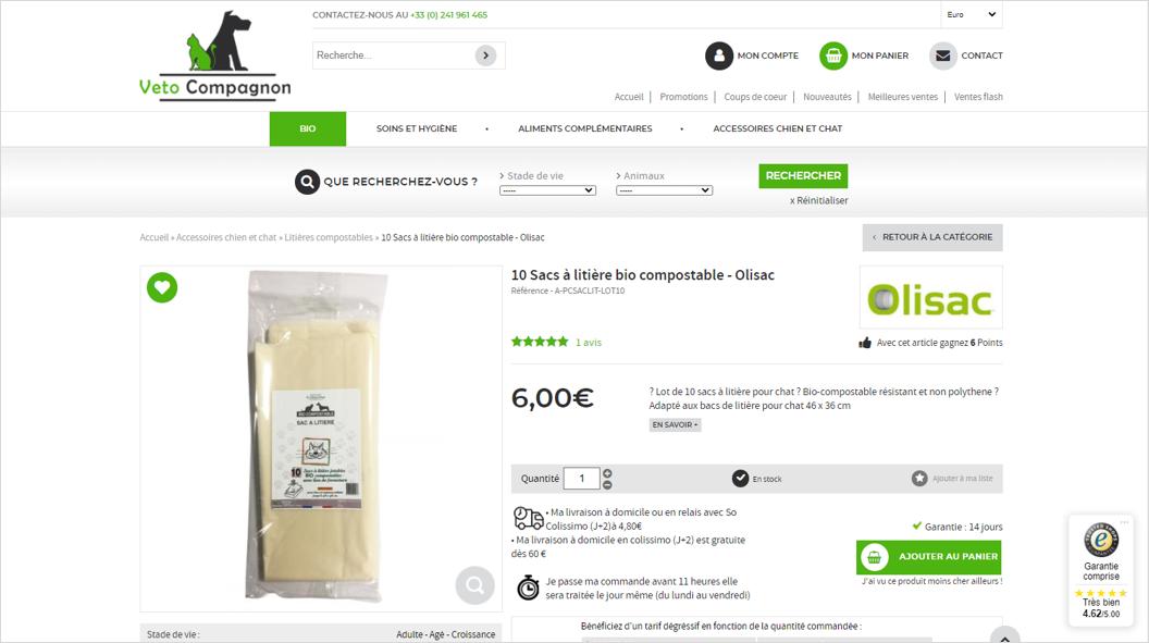 Veto Compagnon : Boutique en ligne par Shop Application ayant activee le module Trusted Shops pour ses avis clients