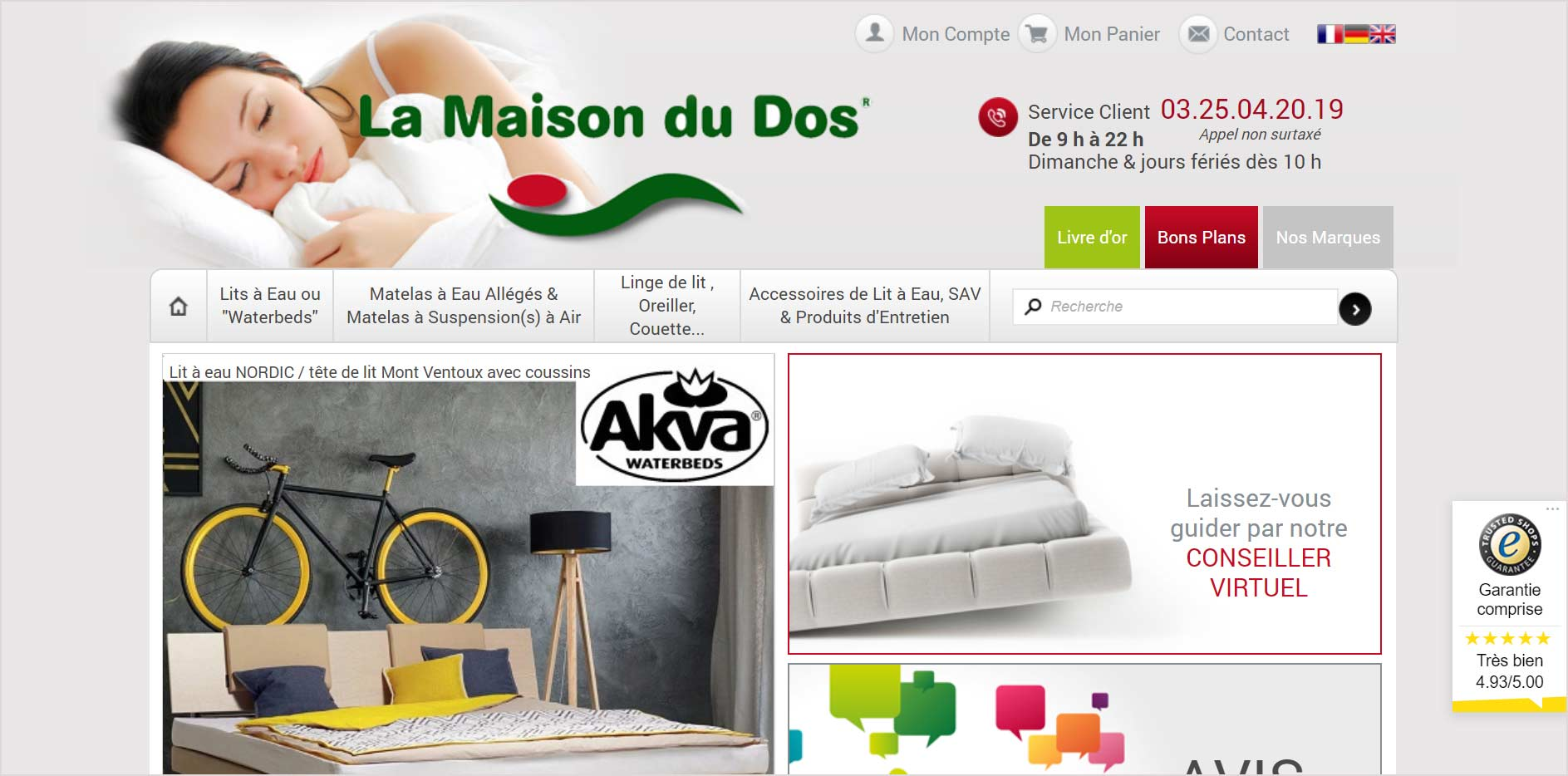 La Maison du Dos : Boutique en ligne par Shop Application ayant active le module Trusted Shops pour gerer ses avis clients