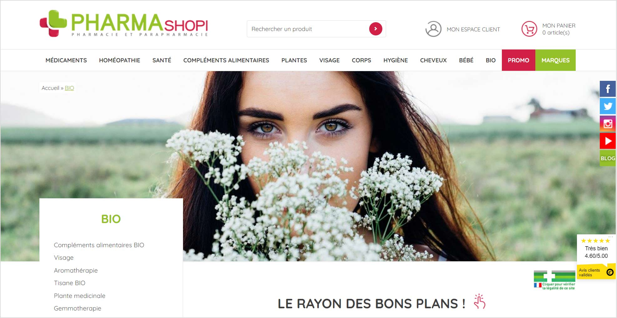 Pharmashopi : Boutique en ligne par Shop Application ayant active le module Trusted Shops pour la gestion de ses avis clients