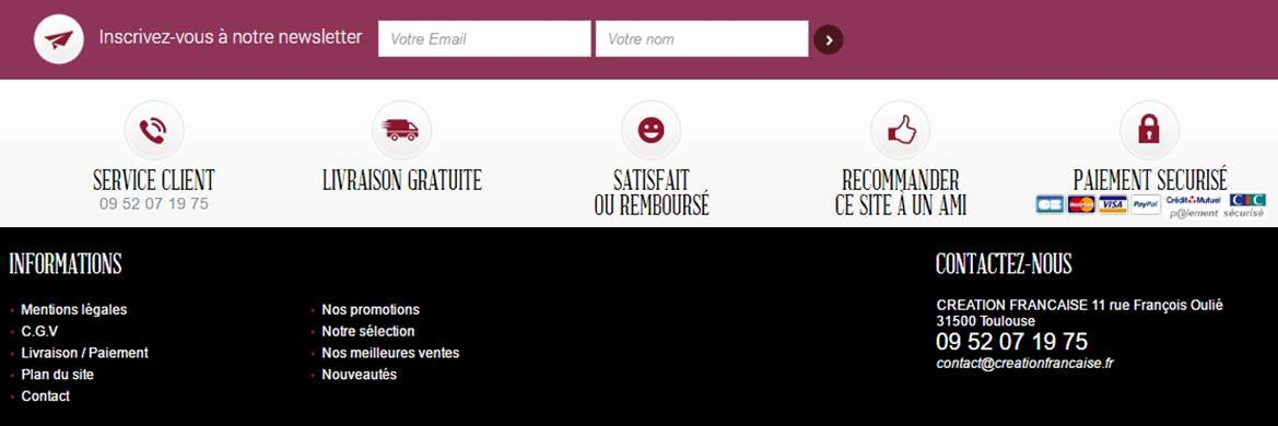 zone de reassurance situee dans le footer sur le site Creation Francaise
