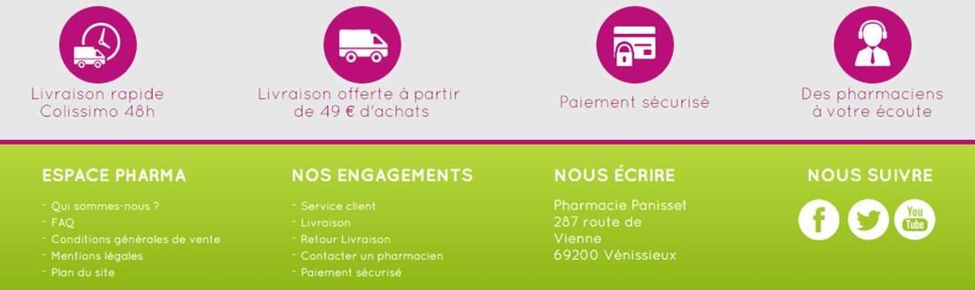 Zone de reassurance dans le footer sur le site e-commerce Espace Pharma : Livraison offerte, paiement securise...