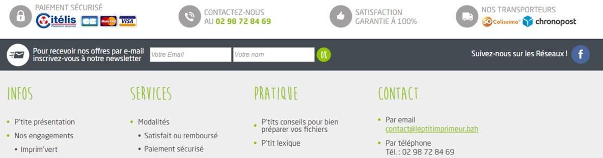 exemple de zone reassurance dans le footer sur le site e-commerce Le Ptit Imprimeur : Paiement securise, Livraison, Satisfaction...