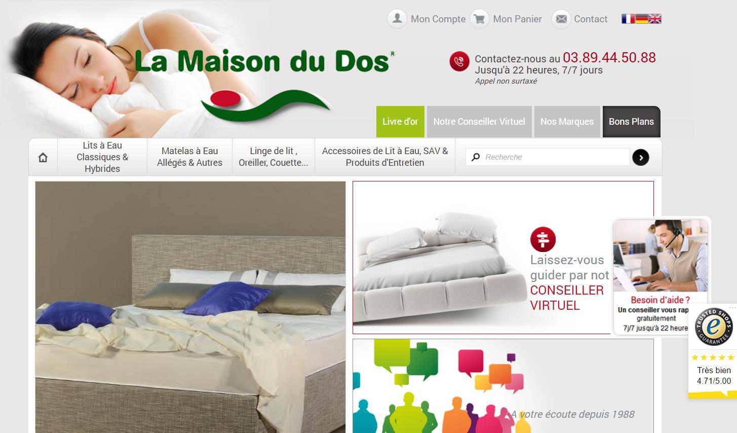 La Maison du dos, client Shop Application utilisant Trusted Shops