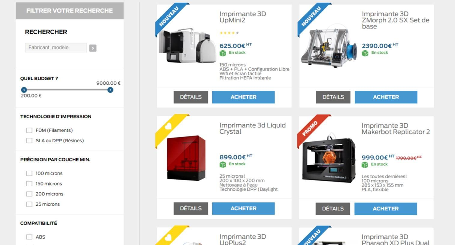 Machine 3D : page de listing article optimisee pour ameliorer les ventes du site e-commerce