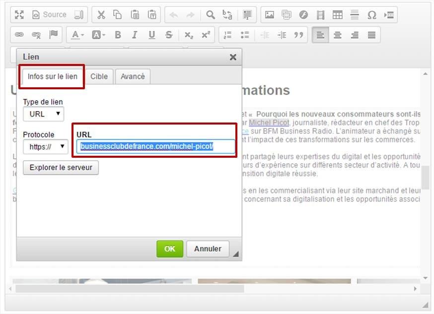 Inserer vos liens manuellement via l'éditeur de texte