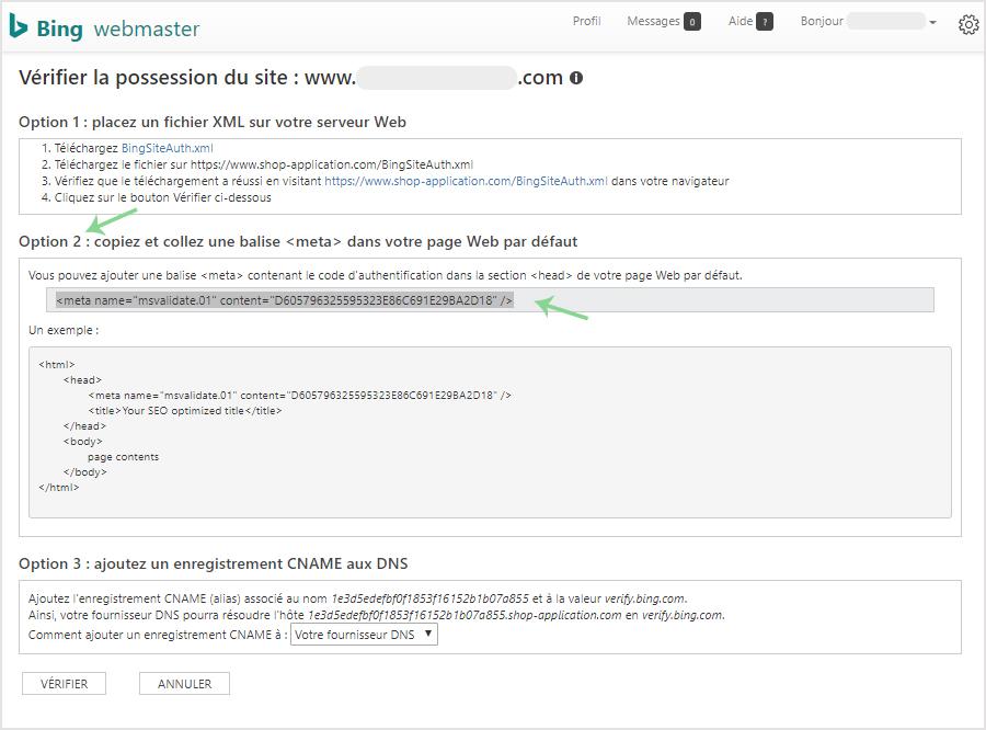 Verifier la possession de votre site internet en copiant collant une balise META dans Shop Application