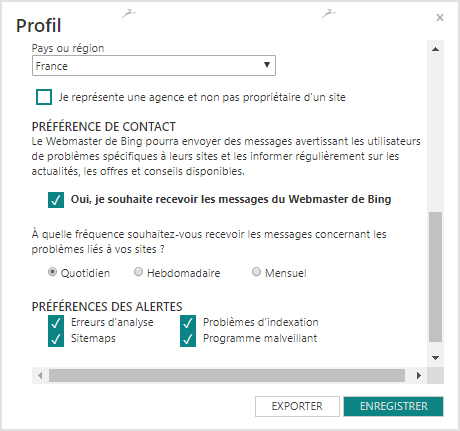 Remplir les informations utiles a votre profil dans Bing Webmaster Tools