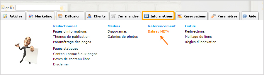 Coller la balise META dans votre interface de site internet Shop Application