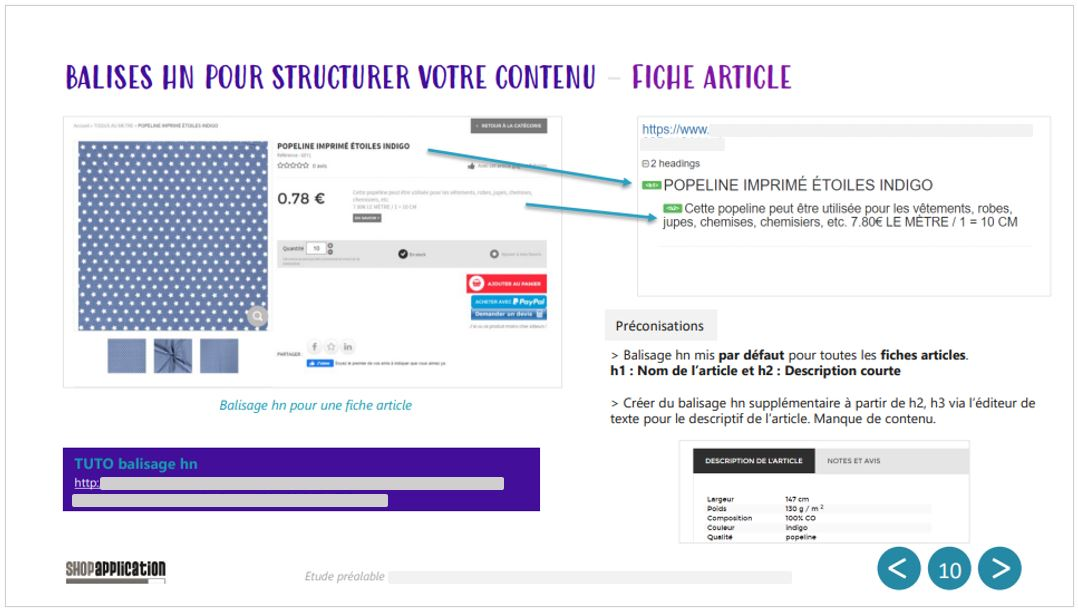 Audit SEO et Webmarketing de site ecommerce : Balisage et structure hn - Shop Application