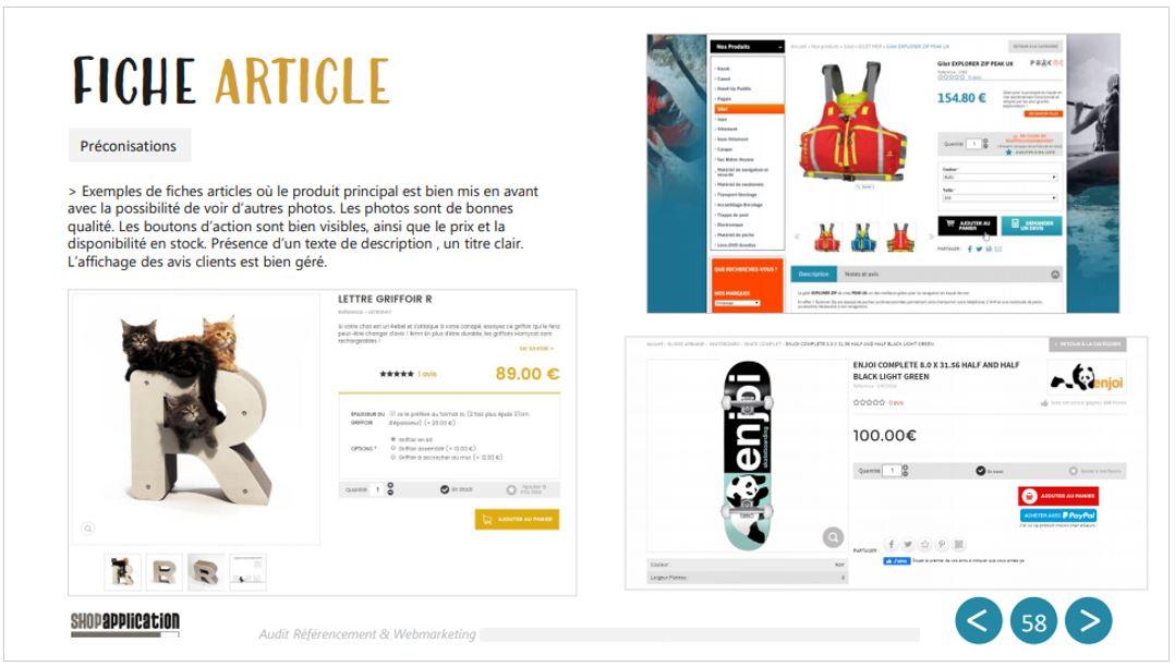 Audit SEO et Webmarketing de site ecommerce : Optimisations fiche article - Shop Application