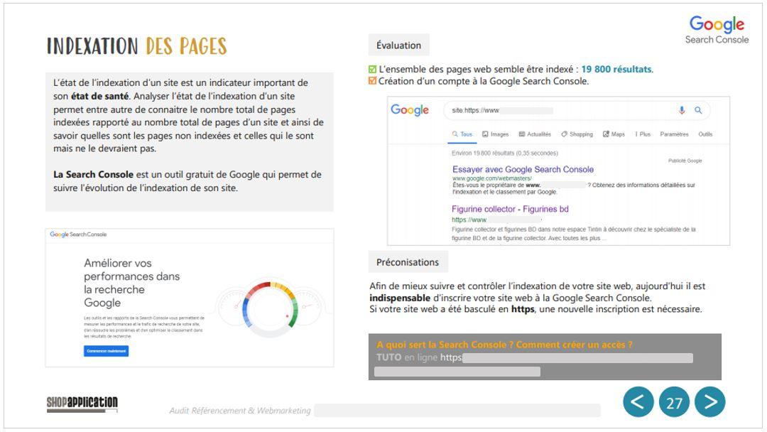 Audit SEO et Webmarketing de site ecommerce : Indexation Google - Shop Application