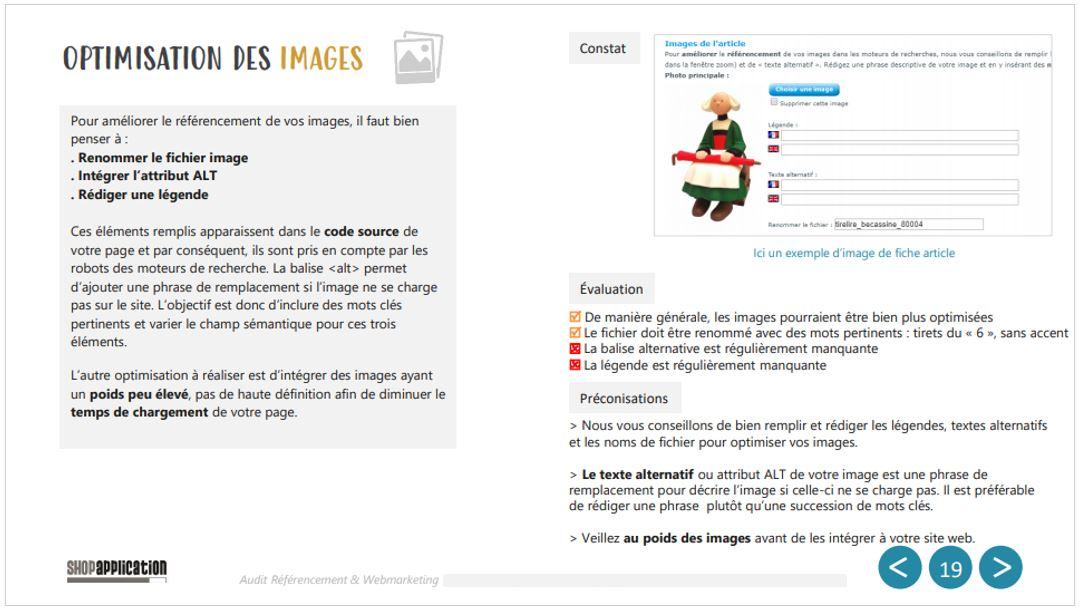 Audit Référencement naturel SEO : Optimisations des images et photos - balise ALT, légende - Shop Application
