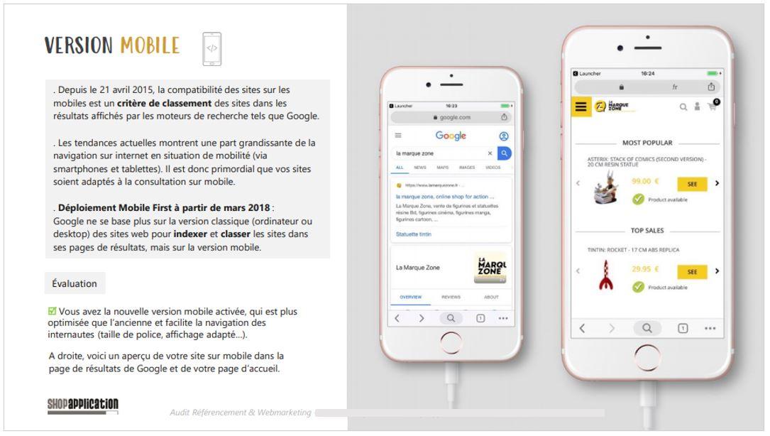 Audit SEO et Webmarketing de site ecommerce : Version Mobile - Shop Application