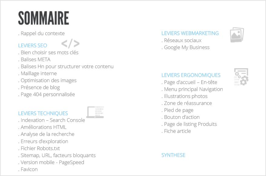 Audit SEO et Webmarketing de site ecommerce : Liste éléments analysés - Shop Application