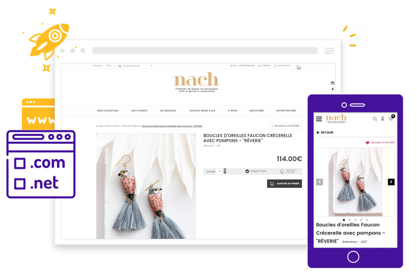 Reservation nom de domaine pour boutique en ligne et site internet avec Shop Application