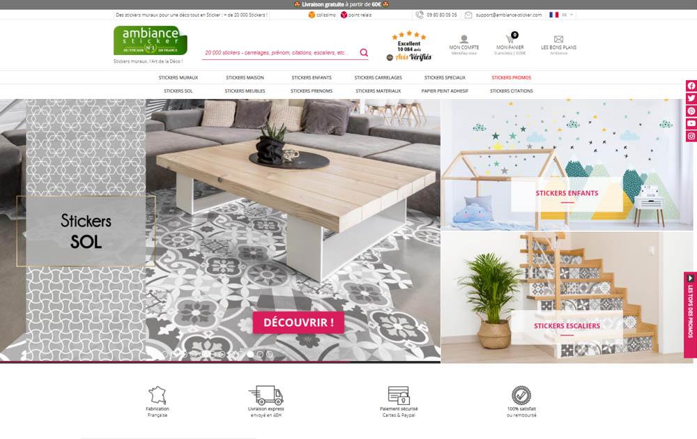 Référence client - Création et Refonte site internet Shop Application - Ambiance Sticker
