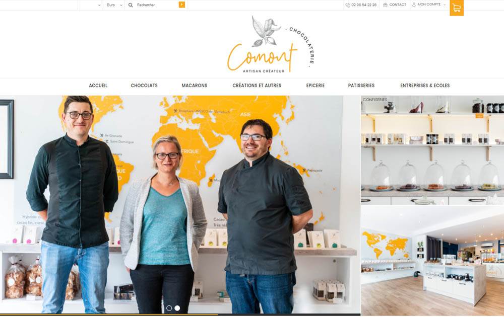 Référence client - Réalisation site internet Shop Application - La Chocolaterie Comont
