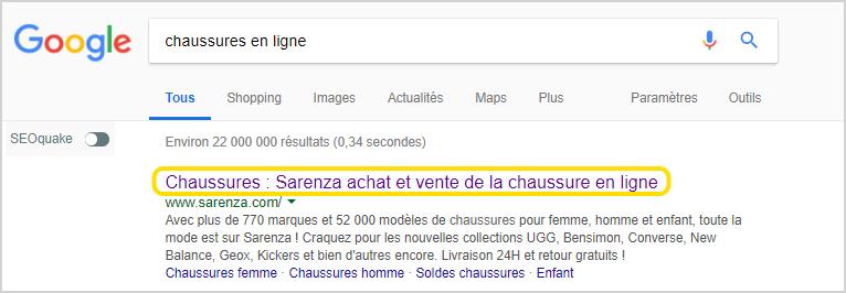 Referencement naturel : Affichage de la balise META titre dans les pages de resultats Google