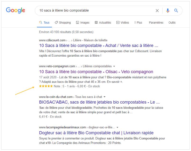 Avis client : Affichage des étoiles jaunes, note et avis dans Google et Rich Snippets - Données structurées