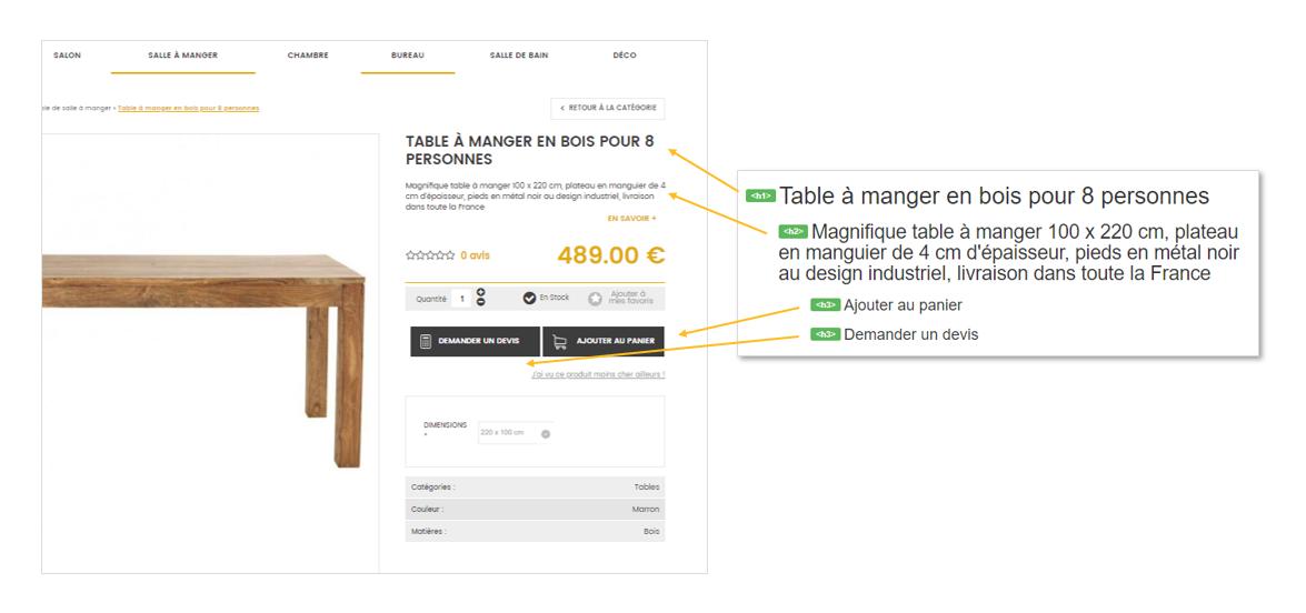 Referencement naturel : Exemple de balisage hn pour une fiche article de boutique en ligne dans Shop Application