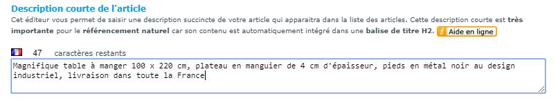 Referencement naturel : La description courte est mise dans une balise h2 avec Shop Application