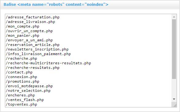 Indexation et Referencement naturel : Gestion de balise meta noindex pour votre site internet avec Shop Application