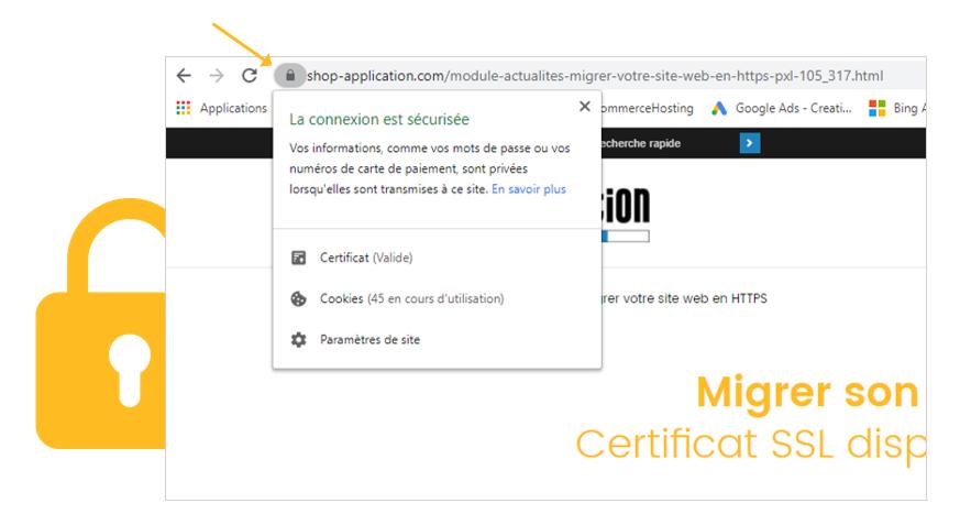 Exemple d'affichage d'une page en connexion sécurisée, l'icône du cadenas est bien présent