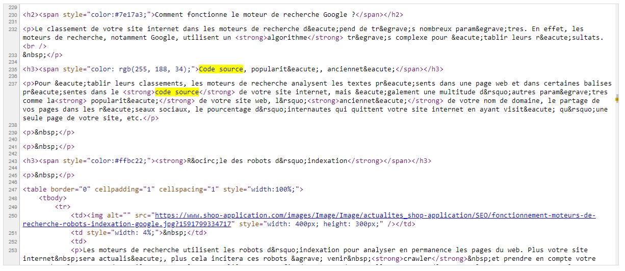 Les moteurs de recherche analysent le code source pour comprendre et classer votre site internet et boutique en ligne