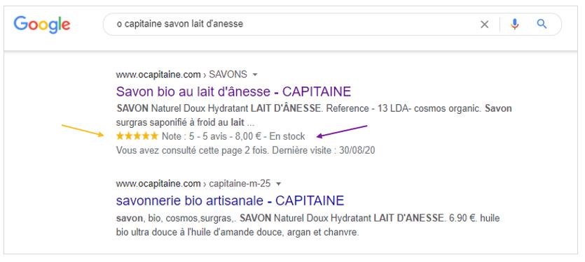 Données structurées : Affichage dans les Rich Snippets de Google des informations sur les avis clients, le prix, le stock