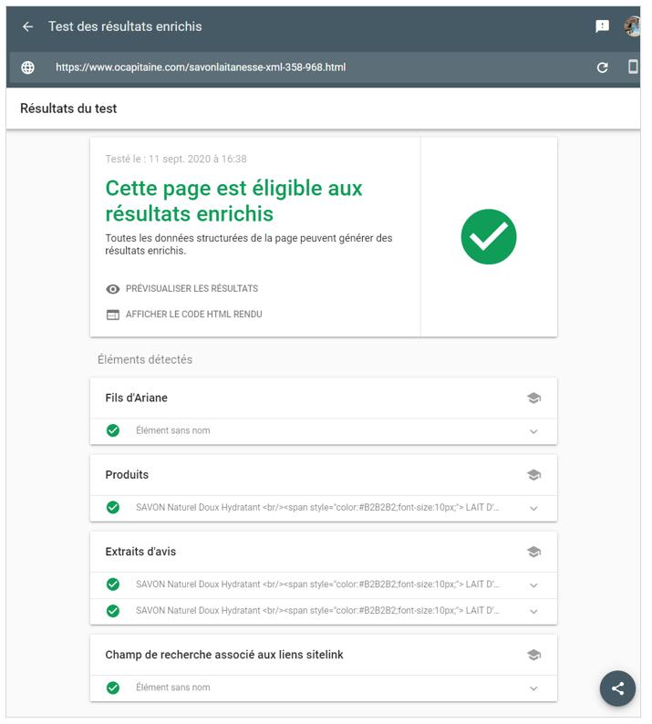 Donnees structurees : Test après la mise a jour avec le fil d'ariane present sur la boutique en ligne - Shop Application