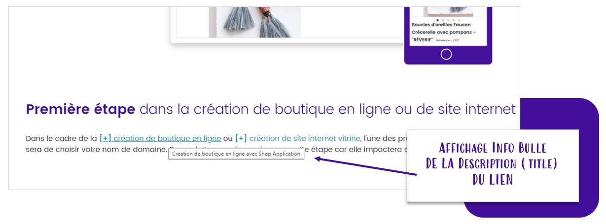 Maillage interne : Affichage info bulle pour le titre de votre lien au passage de la souris