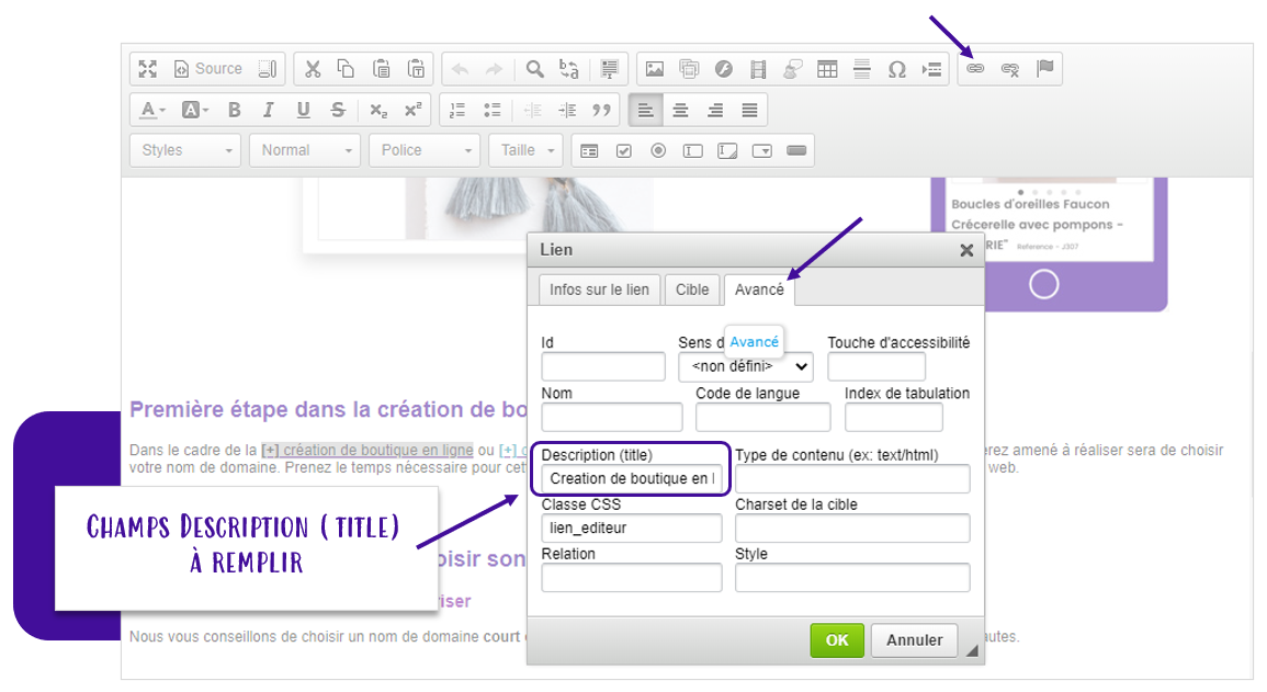 Maillage interne pour le referencement naturel SEO : Remplir le champs titre de votre lien pour faire apparaitre une info bulle avec Shop Application
