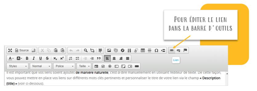 Maillage interne SEO : Editer le lien pour le personnaliser et l'optimiser - Barre outils de Shop Application