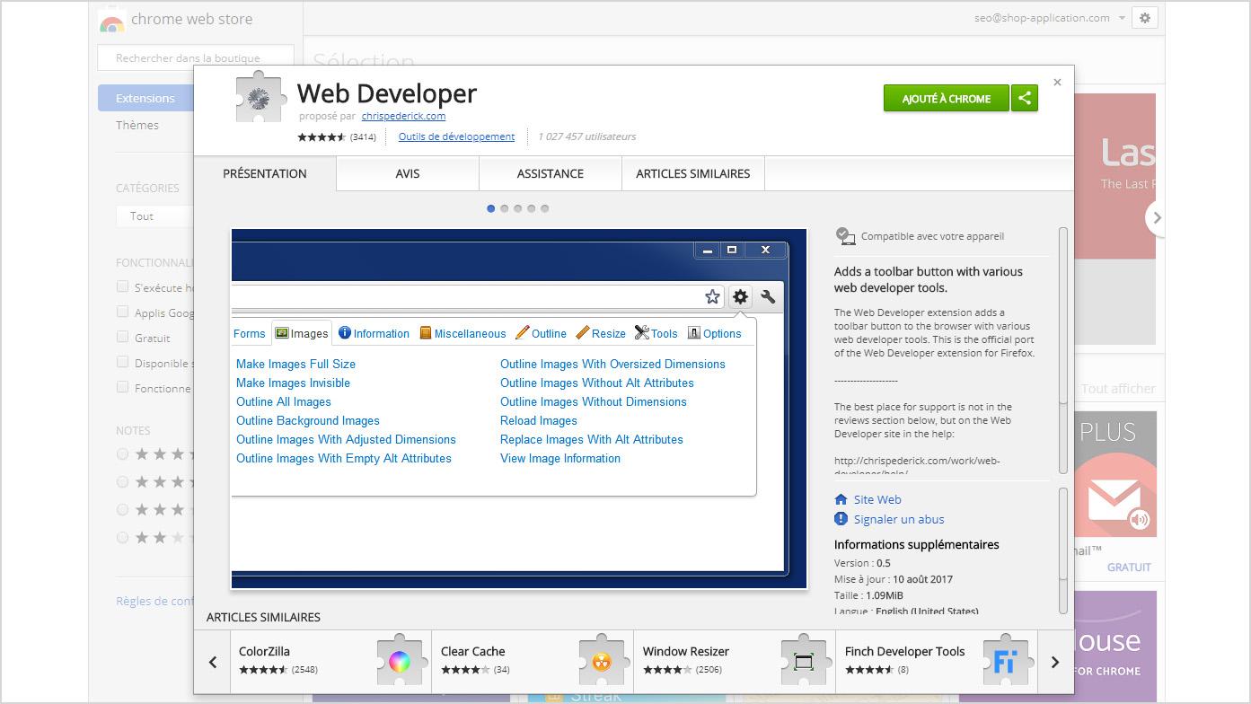 Referencement naturel : Web Developer est une extension a ajouter a votre navigateur pour identifier les balises de titre hn