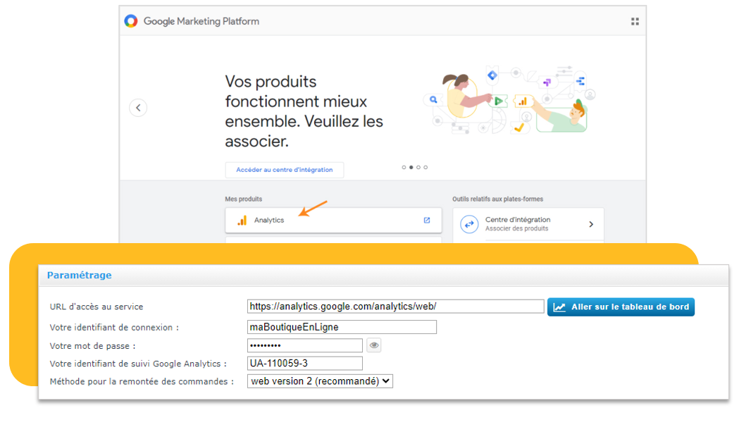 Google Analytics : une page dédiée au paramétrage dans votre interface Shop Application