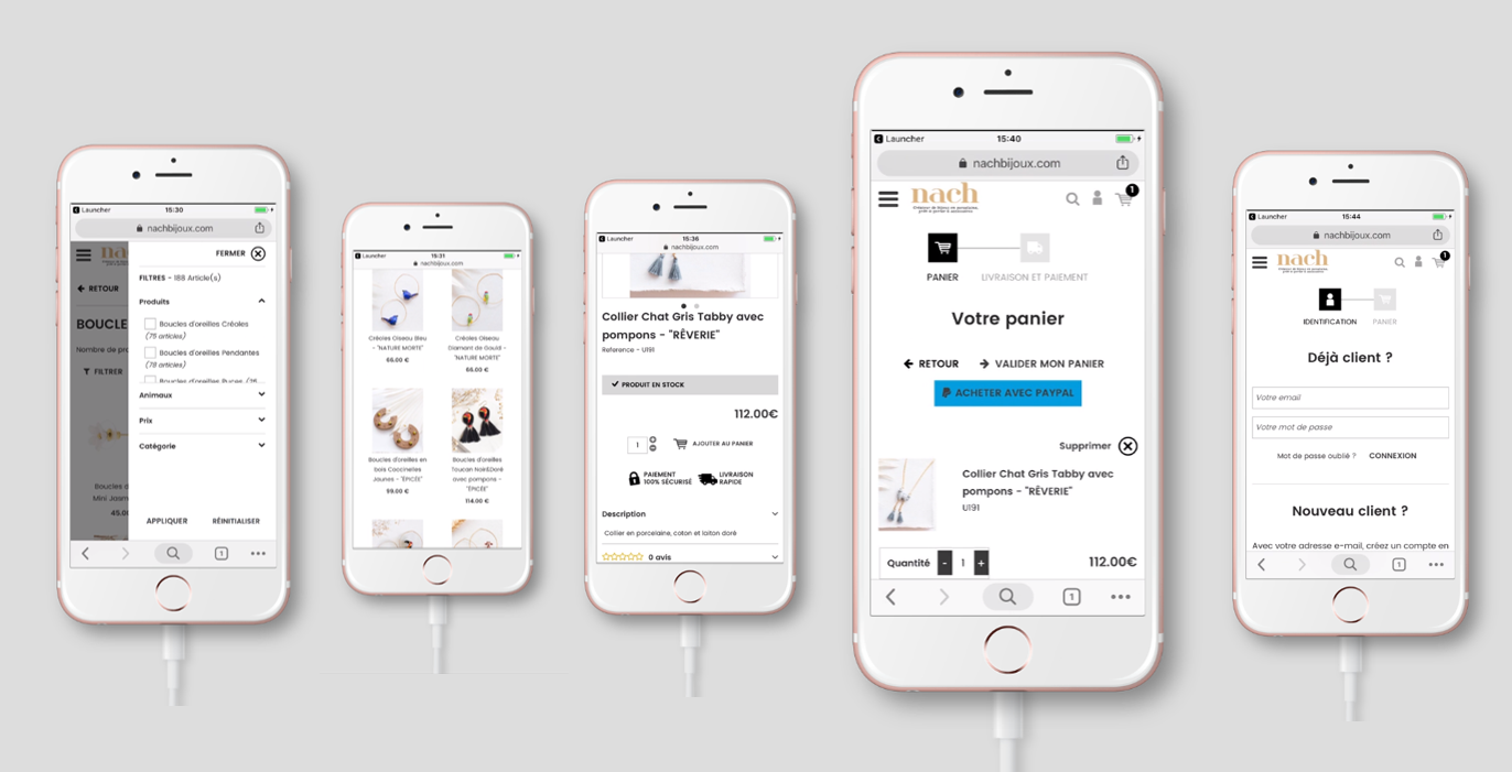 Version Mobile : Processus de commande de boutique en ligne ou site e-commerce avec l'ajout au panier