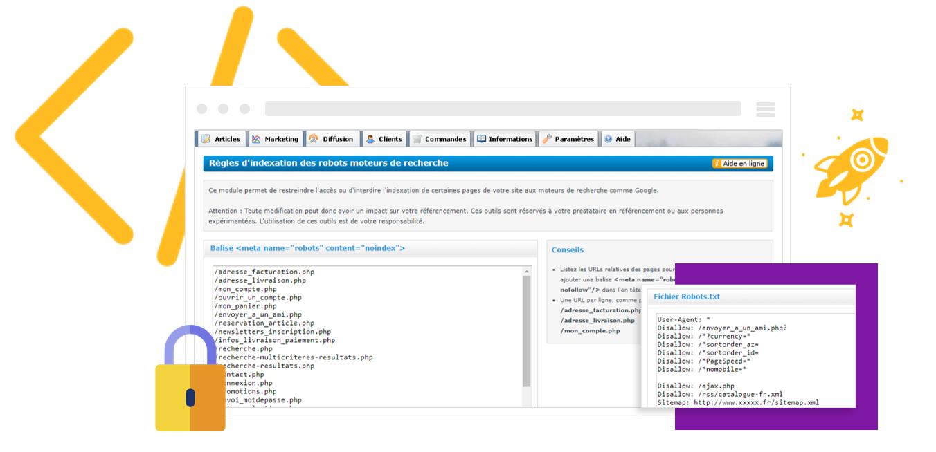 Indexation et referencement naturel de sa boutique en ligne : Balise noindex et fichier robots.txt