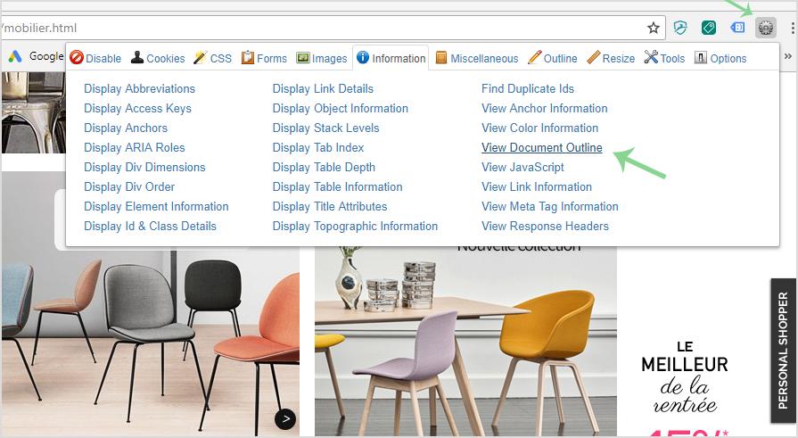 Web Developer : Outil gratuit pour identifier les balises de titres h1, h2, h3 et ameliorer son referencement naturel