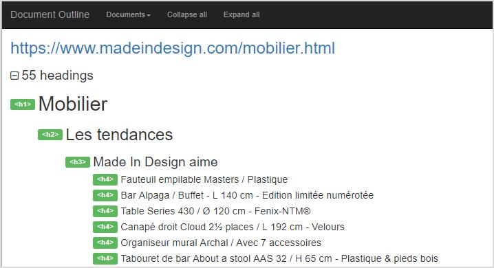 Web Developer : exemple de balisage hn obtenu avec cet outil