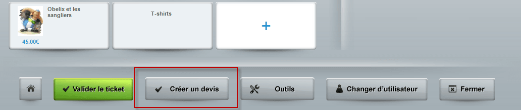 Il est possible de créer un devis directement depuis le logiciel de caisse Shop Application. Le client reçoit le devis par e-mail ou en magasin en version papier.