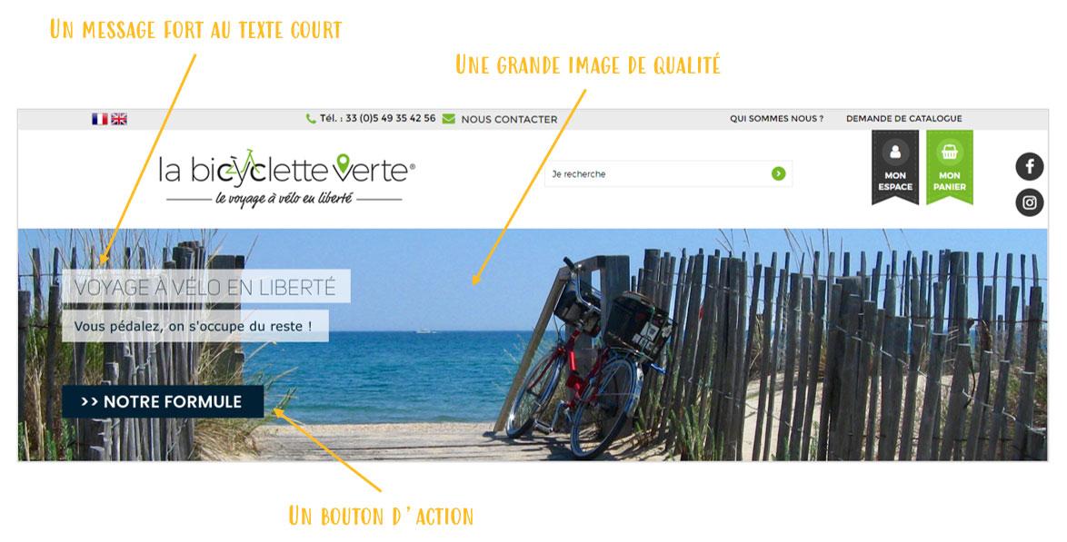 Les principaux elements de visuel de diaporama pour le site de vente la Bicyclette Verte