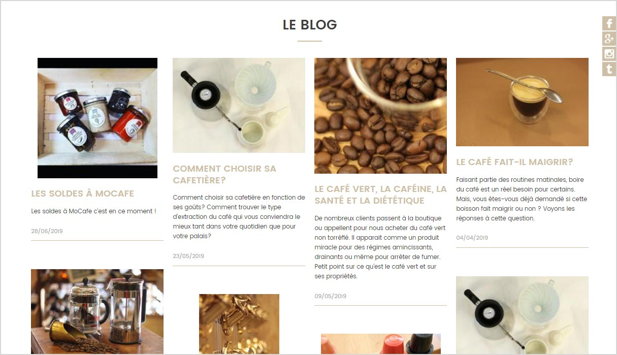 Creation de blog sur le site de vente Mocafe pour presenter son savoir-faire de torrefaction