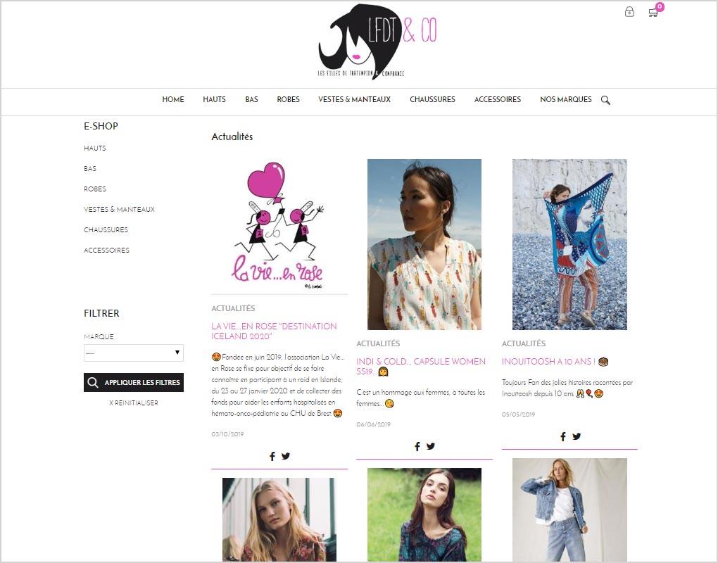 Exemple de creation de blog sur le site de vente Les Filles de Tartempion : Pret a porter et mode pour femmes