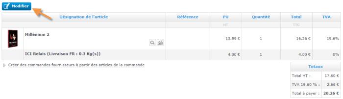 Modifier une commande qui a été passée sur votre site e commerce