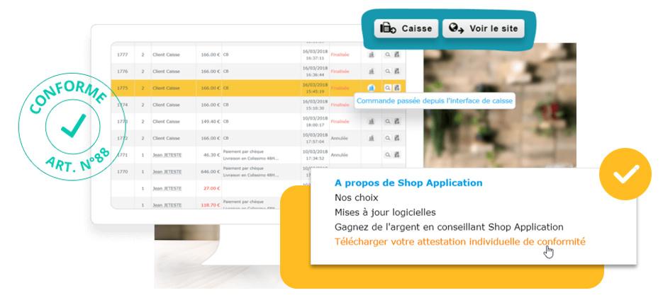 Loi anti-fraude TVA 2018 : Mise en conformité du logiciel Shop Application pour la caisse et boutique en ligne