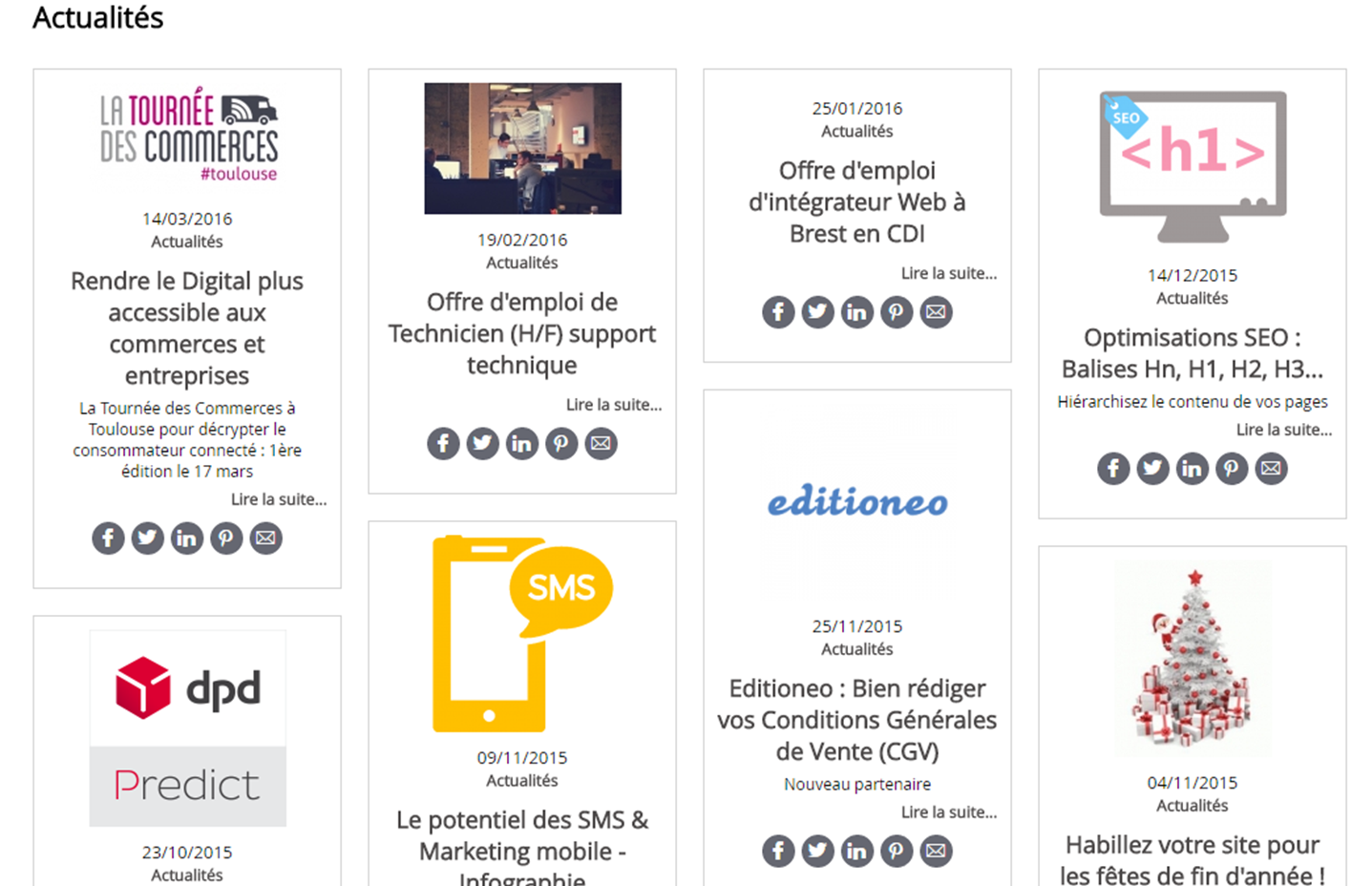 Module de blog ou actualites en mode grille sur Shop Application